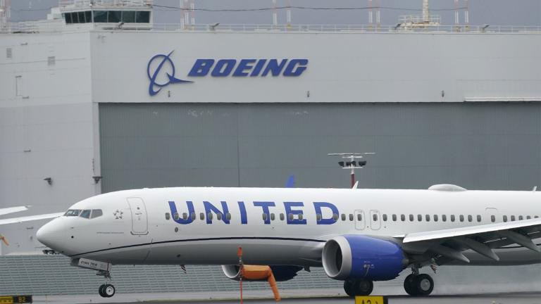 File-This Nov. 18, 2020, file photo shows a Boeing 737 Max 9 built for United Airlines landing at King County International Airport - Boeing Field after a test flight from Moses Lake, Wash., in Seattle. (AP Photo / Ted S. Warren, File)