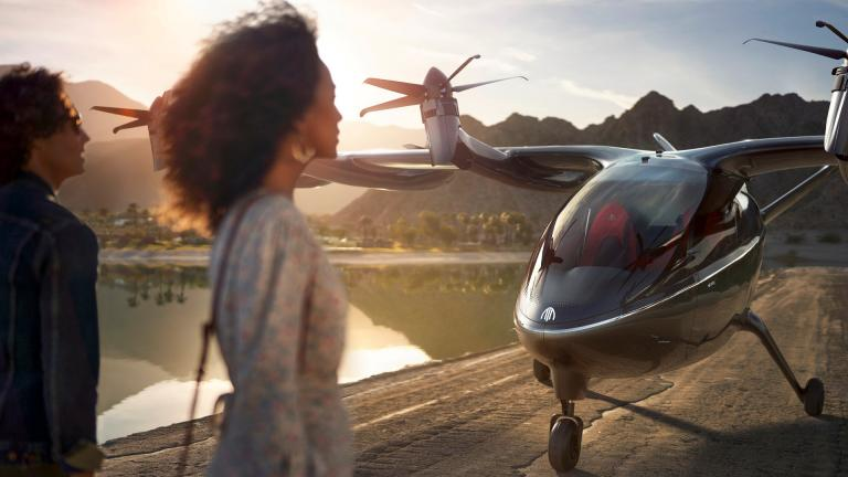 This photo provided by Archer shows the company's eVTOL aircraft. On Wednesday, Feb. 10, 2021, United Airlines announced it will buy up to 200 small electric air taxis to help customers in urban areas get to the airport. (Jeff Ludes / Archer via AP)