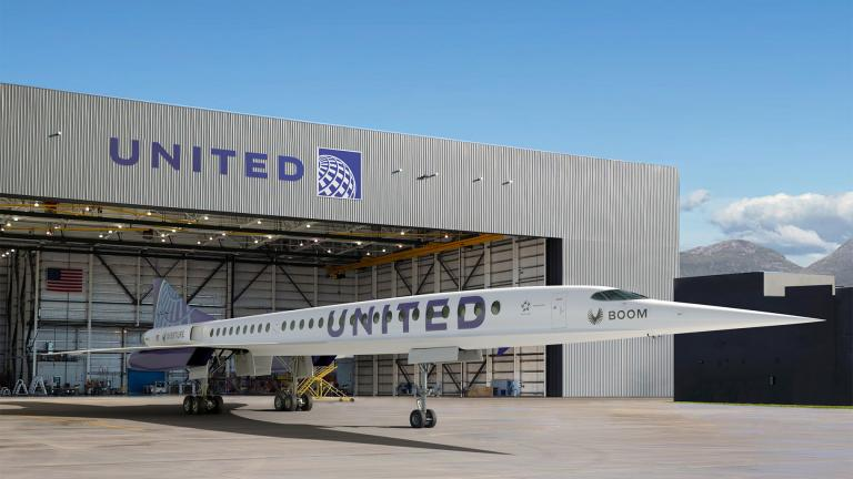 This photo provided by Boom Supersonic shows an artist's rendition of United Airlines Boom Supersonic Overture jet. (Boom Supersonic via AP)