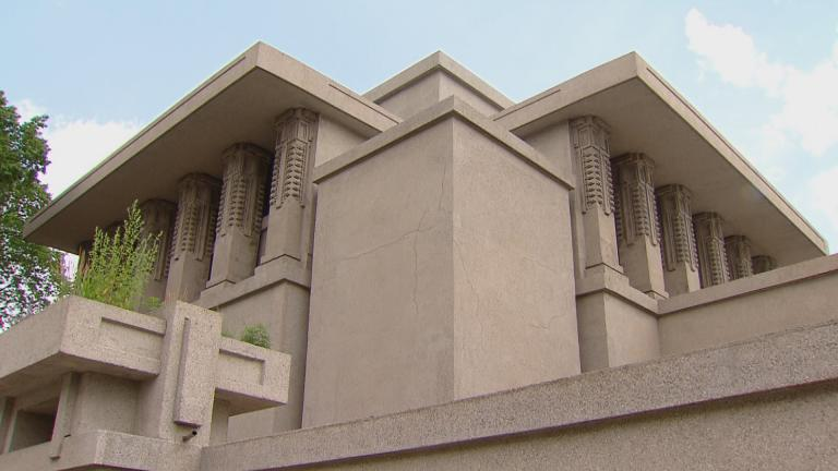 The Frank Lloyd Wright-designed Unity Temple in Oak Park.