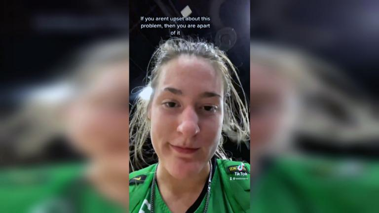 University of Oregon player Sedona Prince is shining light on the inequalities between weight-room facilities for the men's teams competing in Indianapolis and the women's teams competing in San Antonio. (WTTW News via @sedonaprince_)