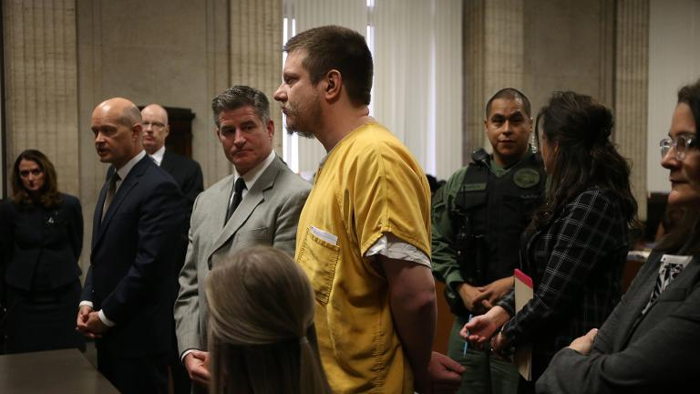 Former Chicago police Officer Jason Van Dyke and his attorney Daniel Herbert, left, attend Van Dyke's sentencing hearing on Friday, Jan. 18, 2019. (Antonio Perez / Chicago Tribune / Pool)