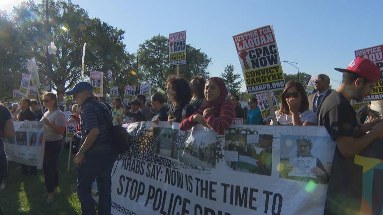 Protesters gather outside the courthouse at 26th Street and California Avenue on Sept. 5, 2018, day one of the murder trial of Chicago police officer Jason Van Dyke. (Chicago Tonight)