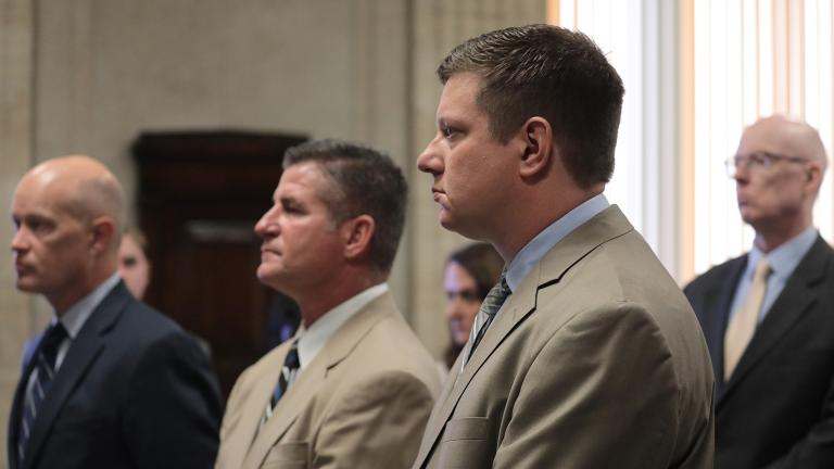 From left: Special prosecutor Joe McMahon, attorney Daniel Herbert and his client, Chicago police Officer Jason Van Dyke, attend a hearing on Sept. 4, 2018 concerning the shooting death of Laquan McDonald. (Antonio Perez / Pool / Chicago Tribune)