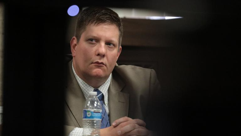 Chicago police Officer Jason Van Dyke listens Tuesday, Sept. 25, 2018 during the trial. (Antonio Perez / Chicago Tribune / Pool)