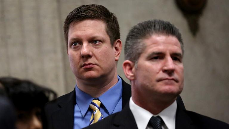 Jason Van Dyke, left, with his attorney Daniel Herbert inside the Leighton Criminal Court Building in Chicago on Thursday, March 8, 2018. (Nancy Stone / Chicago Tribune / Pool)