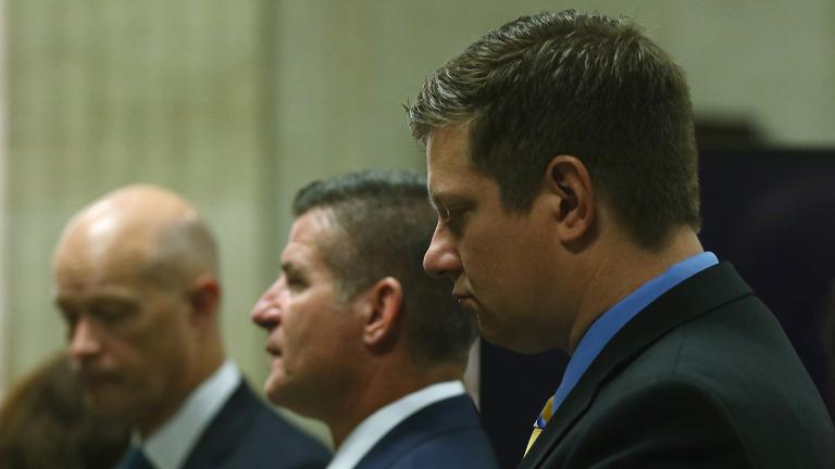 Chicago police Officer Jason Van Dyke, right, stands with attorneys during the trial for the shooting death of Laquan McDonald at the Leighton Criminal Court Building on Wednesday, Sept. 19, 2018. (John J. Kim / Chicago Tribune / Pool)