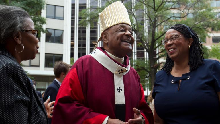 In this Sunday Oct. 6, 2019, file photo, Washington D.C. Archbishop Wilton Gregory greets churchgoers at St. Mathews Cathedral after the annual Red Mass in Washington. (AP Photo / Jose Luis Magana, File)