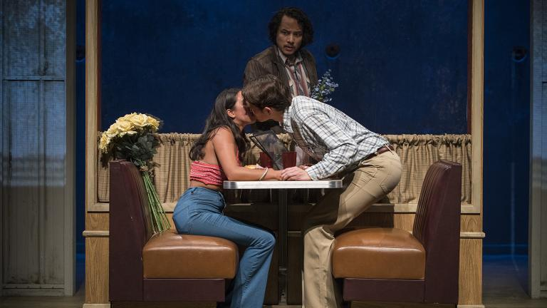 "From left: Aurora Adachi-Winter, Ian Michael Minh, Matthew Yee in ""Vietgone."" (Photo credit: Michael Brosilow)"