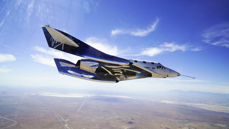 This May 29, 2018 photo made available by Virgin Galactic shows the company's VSS Unity on its second supersonic flight. (Virgin Galactic via AP)