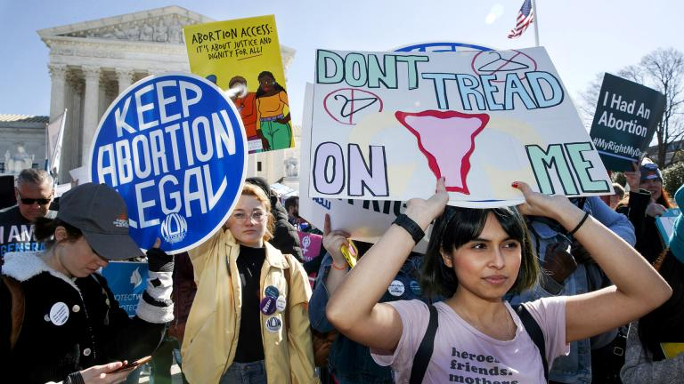 In this Wednesday, March 4, 2020 file photo, abortion rights demonstrators including Jaylene Solache, of Dallas, Texas, right, rally outside the Supreme Court in Washington. (AP Photo / Jacquelyn Martin)