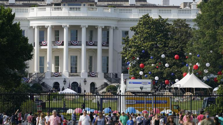 Preparations take place for an Independence Day celebration on the South Lawn of the White House, Saturday, July 3, 2021, in Washington. (AP Photo / Patrick Semansky)