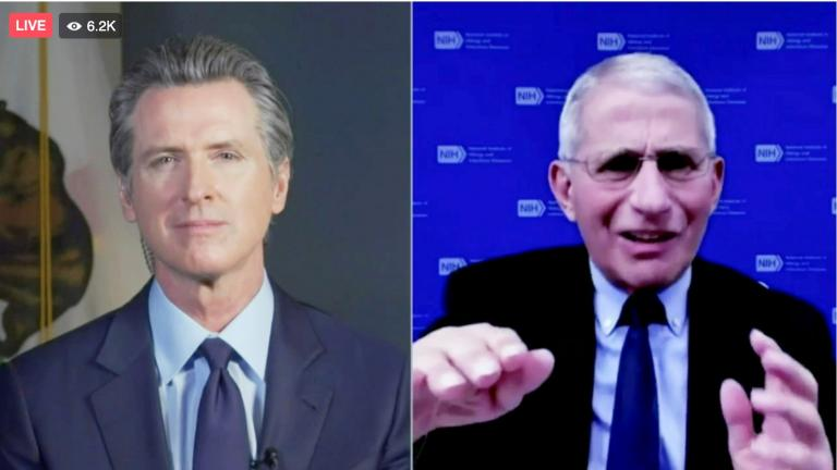This frame from streaming video from the Office of the Governor shows California Gov. Gavin Newsom, left, and Dr. Anthony Fauci during a conversation, Wednesday, Dec. 30, 2020. (Office of the Governor via AP)