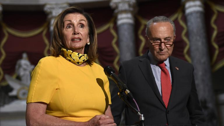 House Speaker Nancy Pelosi of Calif., left, speaks as she stands next to Senate Minority Leader Sen. Chuck Schumer of N.Y., right, on Capitol Hill in Washington, Monday, Aug. 3, 2020. (AP Photo / Susan Walsh)