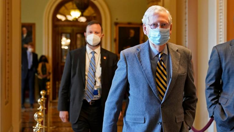 Senate Majority Leader Mitch McConnell of Ky., walks back to his office on Capitol Hill in Washington, Wednesday, Dec. 30, 2020. (AP Photo / Susan Walsh)