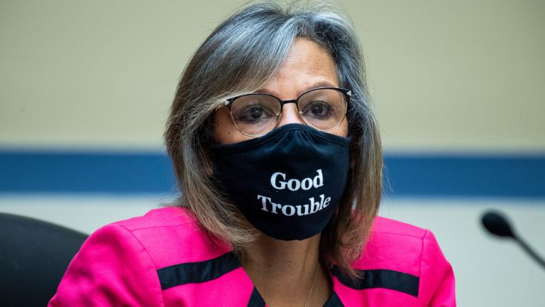 In this Aug. 24, 2020, file photo, Rep. Robin Kelly, D-Ill., listens during a House Oversight and Reform Committee hearing on the Postal Service on Capitol Hill in Washington. (Tom Williams / Pool via AP, File)