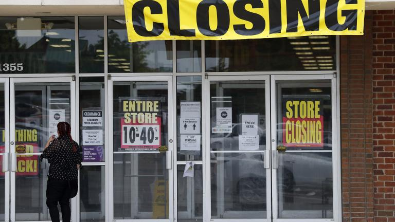 A woman walks into a closing Gordmans store, Thursday, May 28, 2020, in St. Charles, Missouri. (AP Photo / Jeff Roberson)