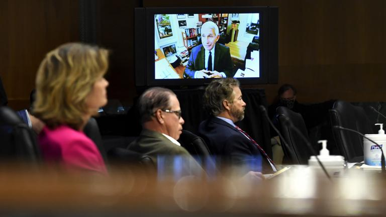 Senators listen as Dr. Anthony Fauci, director of the National Institute of Allergy and Infectious Diseases, speaks remotely during a virtual Senate Committee for Health, Education, Labor, and Pensions hearing, Tuesday, May 12, 2020 on Capitol Hill in Washington. (Toni L. Sandys / The Washington Post via AP, Pool)