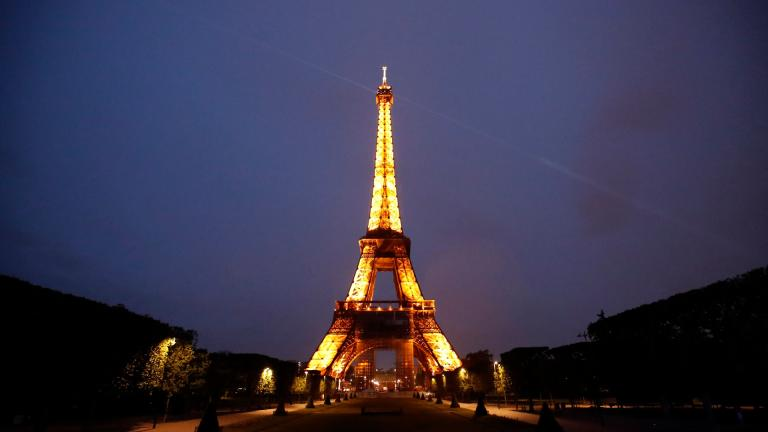 The Eiffel Tower is illuminated in Paris, Tuesday, May 25, 2021. (AP Photo / Francois Mori)