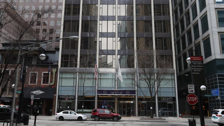 The newly renamed Hotel 166, located near the Northwestern University Hospital complex is seen Monday, March 23, 2020, in Chicago. (AP Photo / Charles Rex Arbogast)