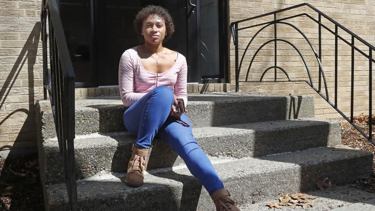 Jade Brooks at her apartment, Tuesday, March 31, 2020, in Boston. (AP Photo / Elise Amendola)
