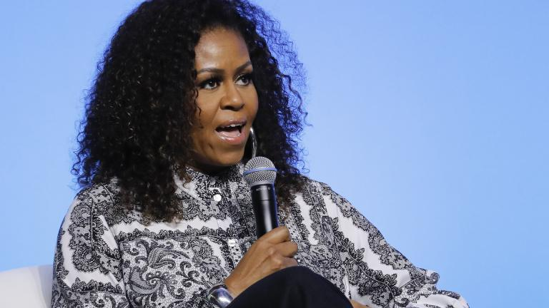 In this Dec. 12, 2019, file photo, former U.S. first lady Michelle Obama speaks during an event for Obama Foundation in Kuala Lumpur, Malaysia. (AP Photo / Vincent Thian, File)