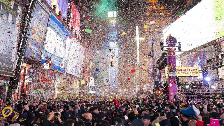 In this Jan. 1, 2020, file photo, confetti falls at midnight on the Times Square New Year's Eve celebration in New York. If ever a year's end seemed like cause for celebration, 2020 might be it. (Photo by Ben Hider/Invision/AP, File)