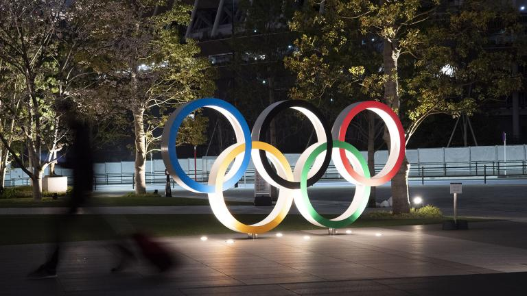 The Olympic rings are seen Monday, March 30, 2020, in Tokyo. (AP Photo / Jae C. Hong)