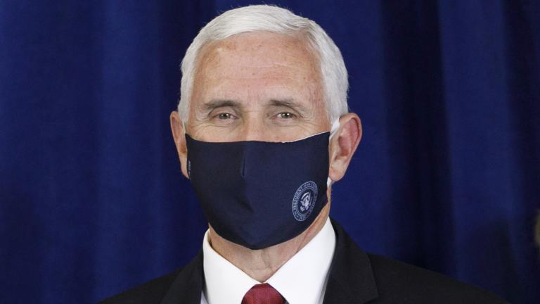 Vice President Mike Pence wears a mask as he is introduced to speak to the Commissioned Corps of the U.S. Public Health Service at their headquarters in Rockville, Md., June 30, 2020. (AP Photo / Jacquelyn Martin)
