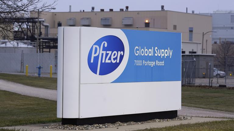 The Pfizer Global Supply Kalamazoo manufacturing plant is shown in Portage, Mich., Friday, Dec. 11, 2020. (AP Photo / Paul Sancya)