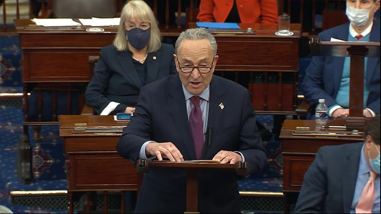 In this image from video, Senate Majority Leader Chuck Schumer of N.Y., speaks before the final vote on the Senate version of the COVID-19 relief bill in the Senate at the U.S. Capitol in Washington, Saturday, March 6, 2021. (Senate Television via AP, File)