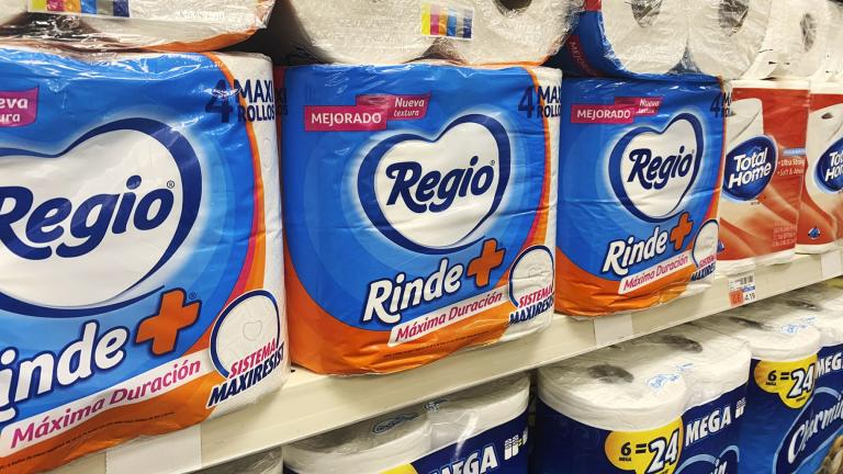 This Sept. 4, 2020, photo, shows Regio, a Mexican toilet paper brand, on the shelf at a CVS in New York. (AP Photo / Joseph Pisani)