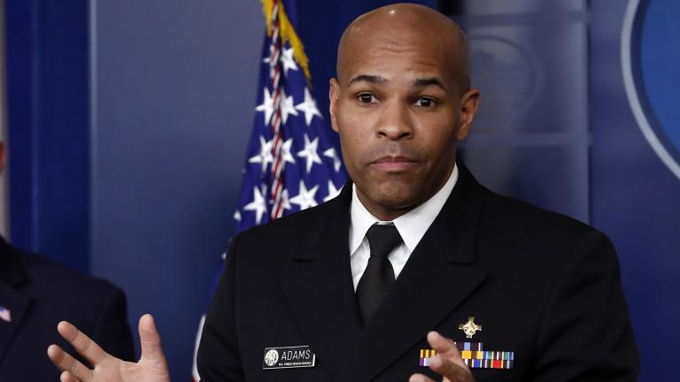 U.S. Surgeon General Jerome Adams speaks about the coronavirus in the James Brady Press Briefing Room of the White House, Friday, April 3, 2020, in Washington. (AP Photo / Alex Brandon)