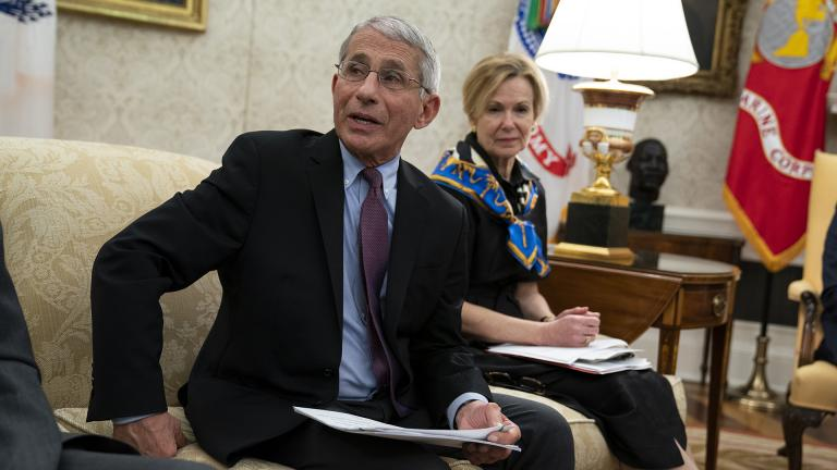 White House coronavirus response coordinator Dr. Deborah Birx listens as director of the National Institute of Allergy and Infectious Diseases Dr. Anthony Fauci speaks during a meeting between President Donald Trump and Gov. John Bel Edwards, D-La., about the coronavirus response, in the Oval Office of the White House, Wednesday, April 29, 2020, in Washington. (AP Photo / Evan Vucci)