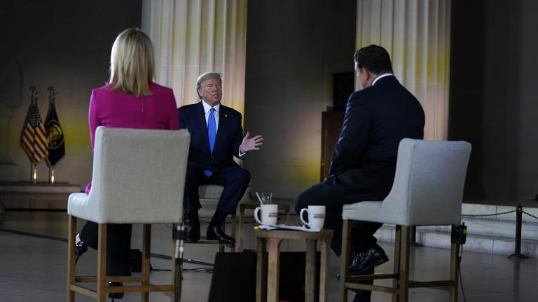 President Donald Trump speaks during a Fox News virtual town hall from the Lincoln Memorial, Sunday, May 3, 2020, in Washington, co-moderated by FOX News anchors Bret Baier and Martha MacCallum. (AP Photo / Evan Vucci)