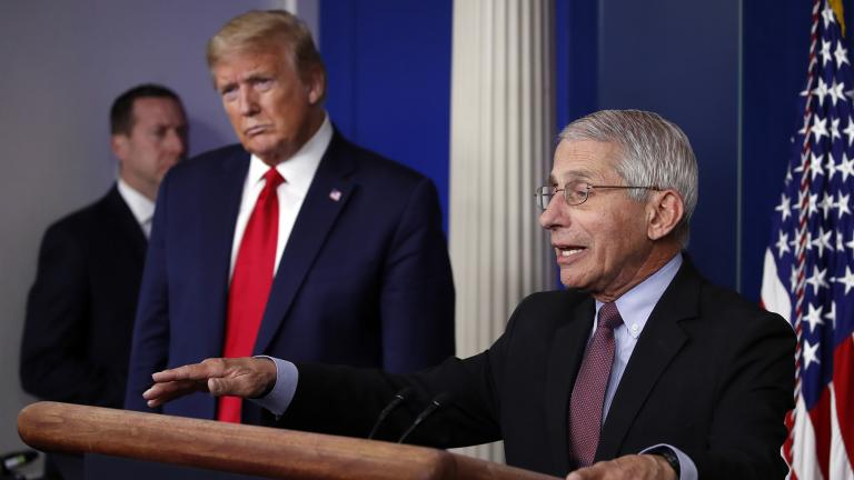 In this April 22, 2020, file photo, President Donald Trump listens as Dr. Anthony Fauci, director of the National Institute of Allergy and Infectious Diseases, speaks about the coronavirus in the James Brady Press Briefing Room of the White House in Washington. (AP Photo / Alex Brandon, File)