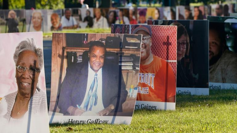 In this Monday, Aug. 31, 2020 file photo, some of the nearly 900 large poster-sized photos of Detroit victims of COVID-19 are displayed on Belle Isle in Detroit. (AP Photo / Carlos Osorio)