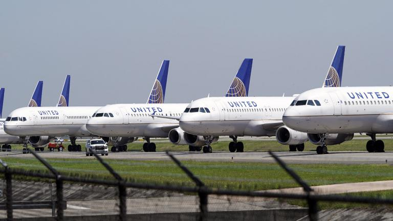 In this March 25, 2020 file photo, United Airlines planes are parked at George Bush Intercontinental Airport in Houston. (AP Photo / David J. Phillip, File)