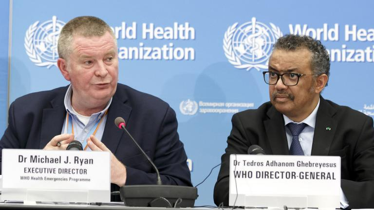 In this Monday, Feb. 24, 2020 file photo, Michael Ryan, left, Executive Director of WHO's Health Emergencies program, next to Tedros Adhanom Ghebreyesus, right, Director General of the World Health Organization (WHO), addresses a press conference about the update on COVID-19 at the World Health Organization headquarters in Geneva, Switzerland. (Salvatore Di Nolfi / Keystone via AP, File)