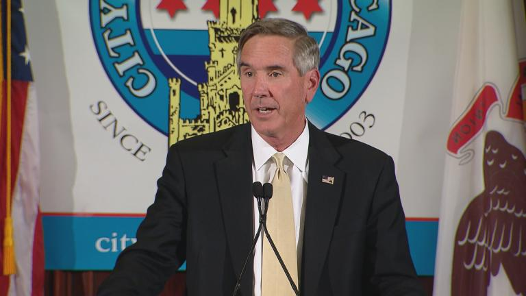 Illinois Republican Party Chairman Tim Schneider speaks at the City Club of Chicago on Tuesday, Sept. 27. (Chicago Tonight)