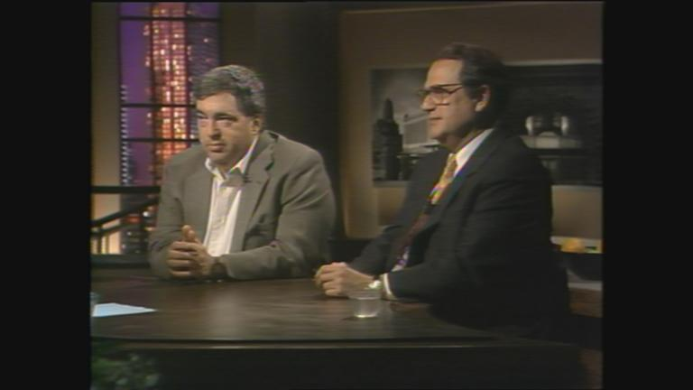 "Jerry Reinsdorf and Jerry Krause appear on ""Chicago Tonight"" on June 17, 1996. (WTTW News)"