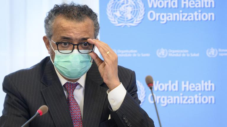 In this Monday, May 24, 2021 file photo, Tedros Adhanom Ghebreyesus, director general of the World Health Organization (WHO), speaks during a bilateral meeting with Swiss Interior and Health Minister Alain Berset at the WHO headquarters, in Geneva, Switzerland. (Laurent Gillieron / Keystone via AP, File)