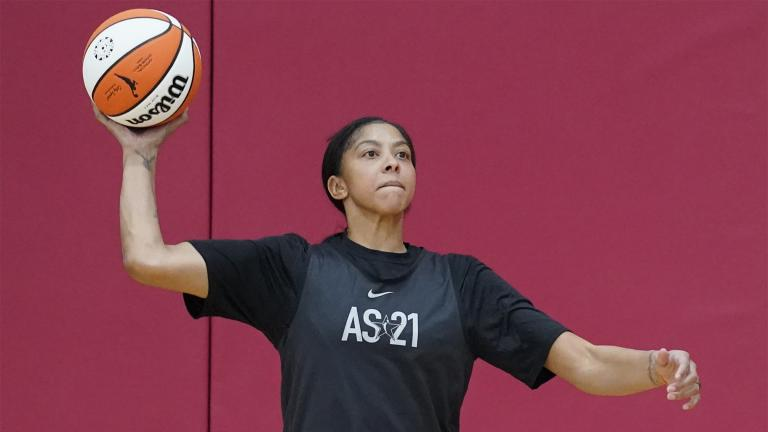 Candace Parker looks to pass during practice for the WNBA All-Star Basketball team, Tuesday, July 13, 2021, in Las Vegas. (AP Photo / John Locher)