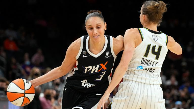 Phoenix Mercury guard Diana Taurasi drives on Chicago Sky guard Allie Quigley (14) during the first half of Game 2 of basketball's WNBA Finals, Wednesday, Oct. 13, 2021, in Phoenix. (AP Photo / Rick Scuteri)