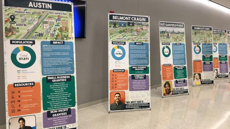 Poster boards about each of the 10 West Side United communities are set up Thursday, March 5, 2020 at Malcom X College. (Kristen Thometz / WTTW News)