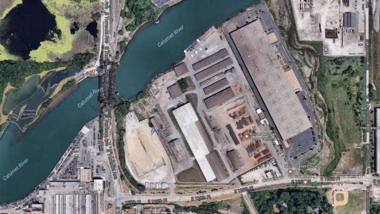 An overhead view of Watco Transloading's storage terminal on Chicago's Southeast Side. Watco is one of at least two facilities in the area that handle manganese. (Google)