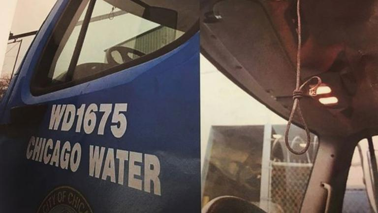 A noose is shown hanging in a Water Department truck. (Courtesy of Ald. David Moore)