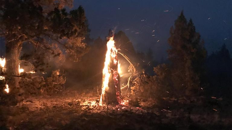 In this photo provided by the Bootleg Fire Incident Command, the Bootleg Fire burns at night near Highway 34 in southern Oregon on Thursday, July 15, 2021. (Jason Pettigrew / Bootleg Fire Incident Command via AP)