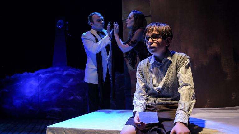 "From left: Kevin Webb, Mikaela Sullivan and Leo Spiegel in Black Button Eyes Productions' Chicago premiere of ""Whisper House."" (Photo by Evan Hanover)"