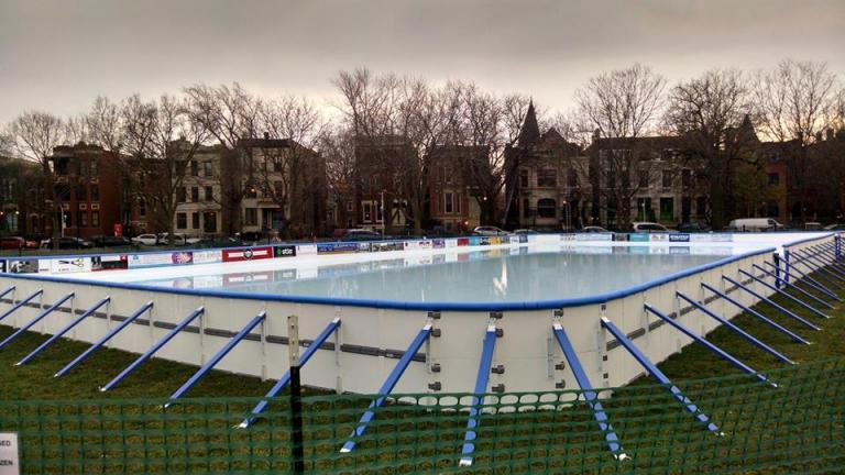Wicker Park's new ice rink. (Courtesy of the Wicker Ice Committee)